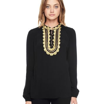 PITCH BLACK GOLD EMBROIDERED TOP by Juicy Couture,