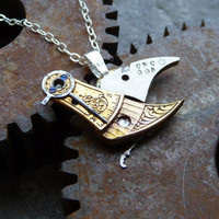 Clockwork Bird Pendant &quot;Silverwing&quot; Organic Bird Necklace Elegant Steampunk Balance Cock Sparrow Gear Robot Wing Silver Chain