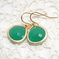 Green Opal Earrings in Gold,Green drop Earrings, Green bezel set drop earrings , Wedding Earrings, Bridesmaid, Emerald -May birthstone