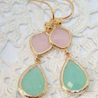 Pink Mint Blue Teardrop and Gold dangle Earrings, Cool mint Blue and pale Ice Pink bezel set double Drop Earrings ,Wedding Bridal