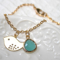 Gold Bird Bracelet, Cool Mint Drop and Little Bird chain Dainty Bracelet, Love Bird and Mint blue Drop Gold Delicate Bracelet - Etsy Gift
