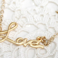 Golden Love necklace, Love necklace, Gold filled chain, Dainty Bridal Wedding Jewelry- Etsy gift for Wife Girl Daughter Girlfriend Mother