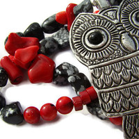 precious super-owl necklace - snowy jasper, red coral - handmade gemstone jewelry by ginfish - OOAK
