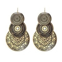 Tiered Etched Disk Earrings: Charlotte Russe