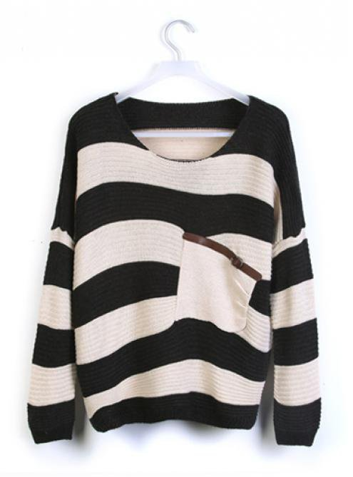 Black Stripes Loose Sweater with Pocket$30.00