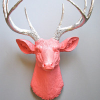 Faux Taxidermy Deer Head wall mount in salmon and silver: Deerman the Deer Head