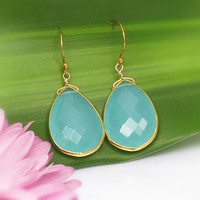 SALE Faceted Aqua Blue Chalcedony  Vermeil Gold bezel set Earrings - Large Gemstone Earrings
