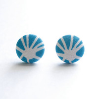 Blue and White Unique Design Fabric Covered Button Earrings NICKEL FREE