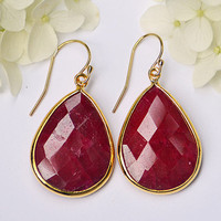 Faceted Dyed Ruby Vermeil Gold bezel set Earrings - Large Gemstone Earrings - July Birthstone Earrings