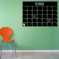 Monthly Calendar Chalkboard Wall Decal
