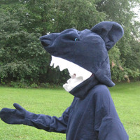 One size fits most  Vellux Shark Head Costume with gloves