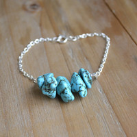 natural turquoise bracelet // bold and delicate