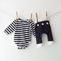 Baby Pyjama Set - Striped Onesuit and Baby Long Johns Baby Boy Baby Girl