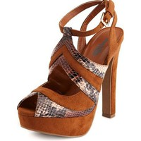 Sueded Snakeskin Color Block Pump: Charlotte Russe