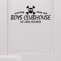 Boys Clubhouse - Vinyl Wall Art - FREE Shipping - Fun Wall Decal