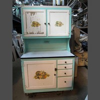 Wooden hoosier cabinet with original paint - Antique furniture - Furniture
