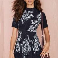 Oh My Love Midnight Floral Skater Dress