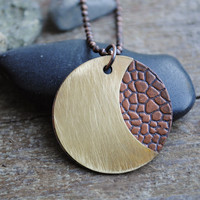 Exotic Moon Brass and Copper Combination Necklace with Animal-Print and Textured Brass