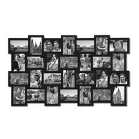 """Adeco Black Wood Wall Hanging Picture Photo Frame Collage, Basket-Weave Design, 28 Openings, 4x6"""""""