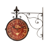 Adeco Iron Vintage-Inspired Round Wall Hangning Clock, Red Face, Roman Numerals with Scroll Wall Mount Home Decor