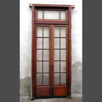 Antique French entry door set with transom