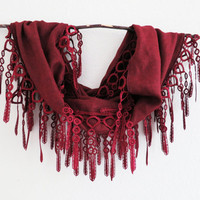 Lace Scarf Vintage Wine Red Cotton Pashmina