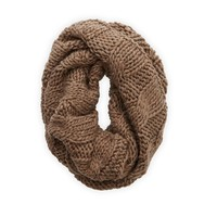 Aerie Open Knit Circle Scarf, Jean Brown Heather   Aerie for American Eagle