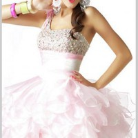 Buy Sweet Pink One-shoulder Beaded Organza Graduation Dress  under 200-SinoAnt.com