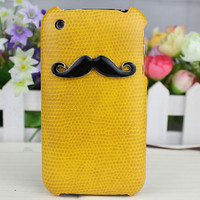 Black Moustache And Yellow  Hard Case Cover for Apple iPhone 3 Case, iPhone 3gs Case, iPhone 3g Hard Case