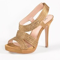 High Heel Wide Band Satin Sandal with Stones