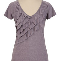 Heathered Ruffle Front V Neck Top