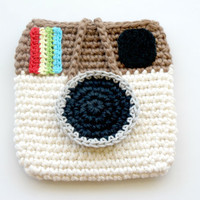 Crocheted Instagram Mini Pouch. Wallet. Purse.