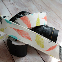 dSLR Camera Strap - White with Feathers in Coral, Black, Aqua and Dill Pickle - Cute Camera Strap