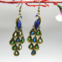 ancient vintage style,peacock with crystal earrings,unique earrings,high-quality earrings EH33