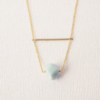 Everyday Necklace : Spring Jewelry - Faceted Amazonite on a Brass Bar - Bridesmaid Jewelry