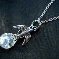 Sparrow Bird Crystal Crackle Glass Marble Necklace