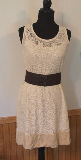 Daisy Fuentes lace dress with brown leather belt - tea dyed