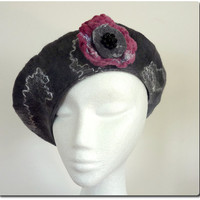 Ladies Fashion Hat. Gray Felt Beret and Brooch