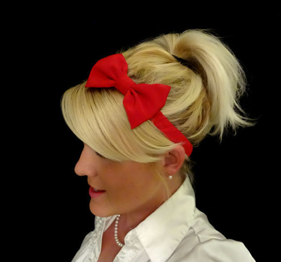 Glamorous red bow stretch headband pinup/retro/feminine