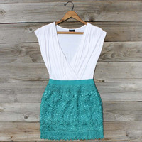 Tucked Lace Dress in Teal, Sweet Women's Country Clothing