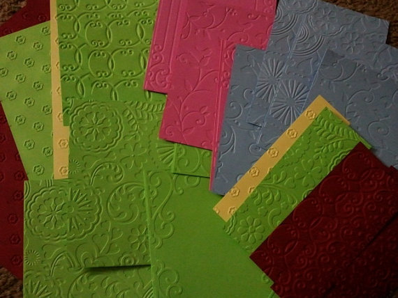 Embossed card stock scrap paper