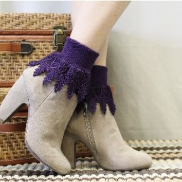 SLC2 Eggplant Signature Lace Socks, Splendor and Luxury for your feet, my exclusive design, Long lace anklet, boot socks, lace boot socks,ladies short boot socks, combat boot socks, cowboy boot socks, leg warmers, boot cuff socks, woman lace socks, womens