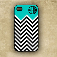 iPhone 4 case  - Tiffany blue with black and white chevron - custom Iphone 4s cover, Iphone 4 (9862)