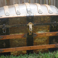 Antique 1877 Camelback Steamer trunk steampunk by mwest0425