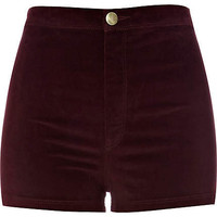 dark red velvet shorts