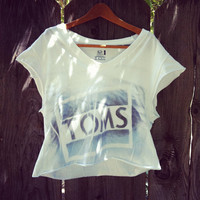 Reworked handmade TOMS crop shirt