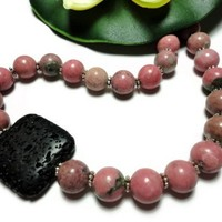 Necklace Pink Rhodonite Gemstone Lava Rock One of a Kind Sterling Bold