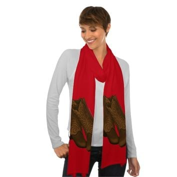 Brown Cowboy Boots on Red Scarf