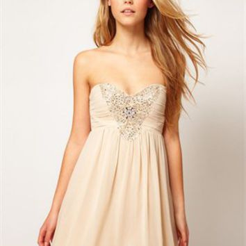 Lovely Short Strapless Sweetheart with Beadings Chiffon Prom Dress PD1957