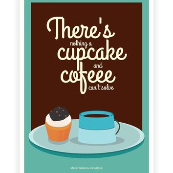 "Marie Williams Johnstone Coffee and Cupcake Shop Decor Poster in A3 (16.5"" X 11.7"") Size"